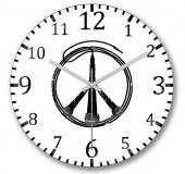 Müzik Barış Peace Duvar Saati Bombeli Gercek Cam