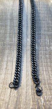 316L Çelik Siyah Zincir Kolye-2