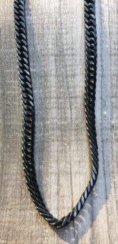 316L Çelik Siyah Zincir Kolye-3