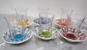 Lav Duru Renkli Seramik Tabaklı Çay Takım 12 Parça
