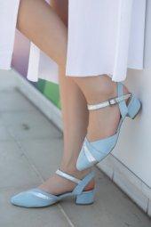 Placida Bebe Mavisi Süet Topuklu Ayakkabı