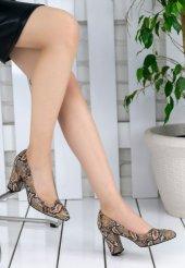 Lacey Koyu Vizon Desenli Topuklu Ayakkabı