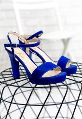 Edna28 Saks Mavisi Süet Topuklu Ayakkabı