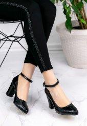 Loceya Siyah Rugan Topuklu Ayakkabı-3