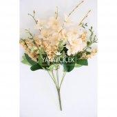 Yapay Çiçekli Kaliteli Cipso Ara Dal Demeti 40 cm Şampanya