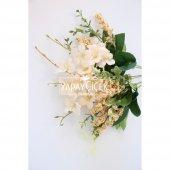 Yapay Çiçekli Kaliteli Cipso Ara Dal Demeti 40 cm Şampanya-2