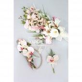 Orkide Gelin Çiçeği Pudra Pembe 3lü Set