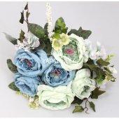 Yapay Çiçek 12 Dal Lüx Soft Katmer Gül-Ortanca Aranjmanı Su Yeşili-Mavi-2