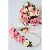 Gelin Çiçeği Lina 3lü Set (Gelin Buketi, Yaka...