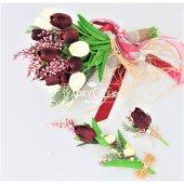 Islak Lale Gelin Çiçeği 3lü Set Beyaz-Mürdüm-2