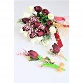 Islak Lale Gelin Çiçeği 3lü Set Beyaz-Mürdüm-3