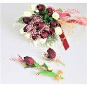 Islak Lale Gelin Çiçeği 3lü Set Beyaz-Mürdüm-4