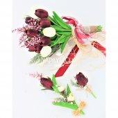 Islak Lale Gelin Çiçeği 3lü Set Beyaz-Mürdüm-5