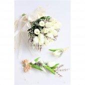 Islak Lale Gelin Çiçeği 3lü Set Beyaz-2