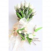 Islak Lale Gelin Çiçeği 3lü Set Beyaz-3