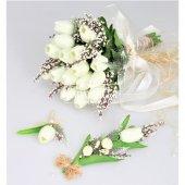 Islak Lale Gelin Çiçeği 3lü Set Beyaz-4
