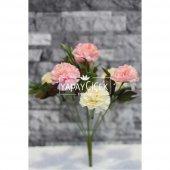 Yapay Çiçek 7li Karanfil Çiçeği (Krem-Pembe)