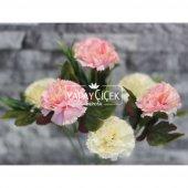 Yapay Çiçek 7li Karanfil Çiçeği (Krem-Pembe)-2