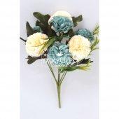Yapay Çiçek 7li Karanfil Çiçeği (Krem-Mavi)