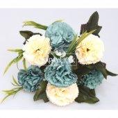 Yapay Çiçek 7li Karanfil Çiçeği (Krem-Mavi)-2