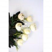 Yapay Çiçek Ucuz Pastel Şakayık Gül Demeti Kırık Beyaz-2