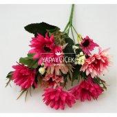 Ucuz yapay çiçek iri kafa papatya demeti (koyu pembe)-2