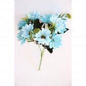 Yapay Çiçek 10lu Büyük Kafa Papatya Demeti Açık Mavi