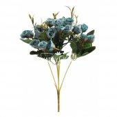 Ucuz Yapay Çiçek Pastel Tomurcuk Gül Demeti (Turkuaz)