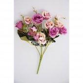 Yapay Çiçek Pastel Renk Gül Demeti Mor Krem