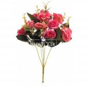 Yapay Çiçek Pastel Renk Gül Demeti Fuşya-2