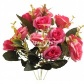 Yapay Çiçek Pastel Renk Gül Demeti Fuşya-3