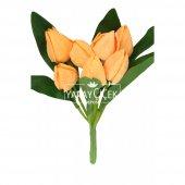 Yapay Çiçek 9 Dal Kapalı Kumaş Lale Demeti Turuncu