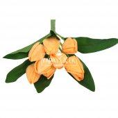 Yapay Çiçek 9 Dal Kapalı Kumaş Lale Demeti Turuncu-2