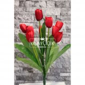 Yapay Çiçek Lale Demeti 9 Dallı Kırmızı