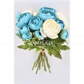 Yapay Çiçek 15li Küçük Şakayık Gül Buketi Beyaz-Mavi