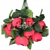 Ucuz yapay çiçek şakayık çiçeği gül demeti (fuşya)-2