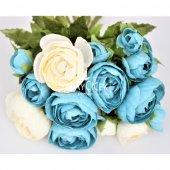 Yapay Çiçek 15li Küçük Şakayık Gül Buketi Beyaz-Mavi-2