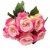 Yapay Çiçek 6 Dal Lüx İri Gül Demeti 45 cm Fusya-Pembe-2