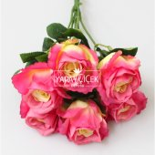 Yapay Çiçek 6 Dal Lüx İri Gül Demeti 45 cm Fusya-KREM-2