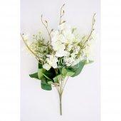 Yapay Çiçekli Kaliteli Cipso Ara Dal Demeti 40 cm Beyaz