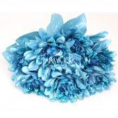 Yapay Çiçek Payetli Büyük Yıldız Gülü Demeti Mavi-2