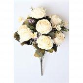 Yapay Çiçek Katmer Gül Aranjmanı Beyaz