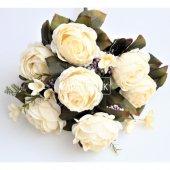 Yapay Çiçek Katmer Gül Aranjmanı Beyaz-2
