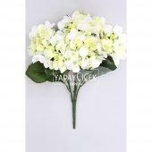 Yapay Çiçek Büyük 5 Dal Ortanca Demeti Beyaz-Yeşil