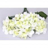 Yapay Çiçek Büyük 5 Dal Ortanca Demeti Beyaz-Yeşil-2