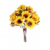 Yapay 10lu Lüx Ayçiçeği Buketi 42 cm