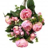 Yapay Çiçek 18 Goncalı Büyük Gül Aranjmanı Açık Pembe-2