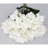 Yapay Çiçek Büyük 5 Dal Delüx Damarlı Ortanca Demeti Beyaz-2
