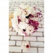Gelin Buketi Beyaz Ortanca Kuru Çiçek Esintisi 2li Set