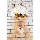 Gelin Buketi Beyaz Ortanca Kuru Çiçek Esintisi 2li Set-3